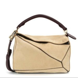 Loewe medium suede puzzle bag with crossbody strap